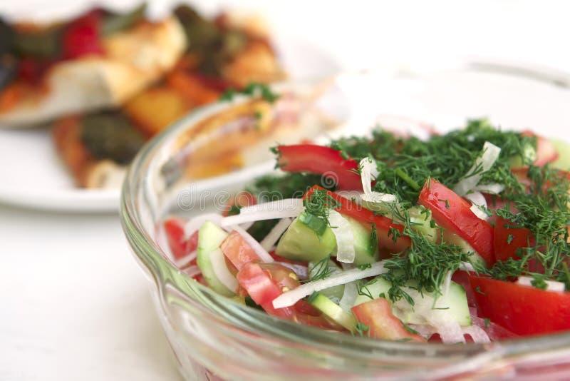 focaccia warzywo zielony sałatkowy zdjęcie stock