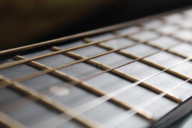 Focalisation des ficelles de guitare photographie stock libre de droits