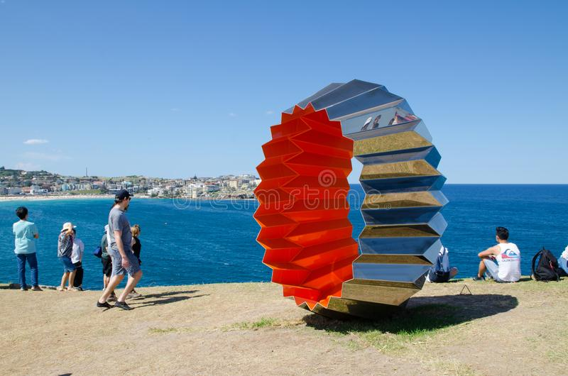 ` Foci ` is a sculptural artwork by Karl Meyer at the Sculpture by the Sea annual events free to the public sculpture exhibition. SYDNEY, AUSTRALIA. – On royalty free stock images