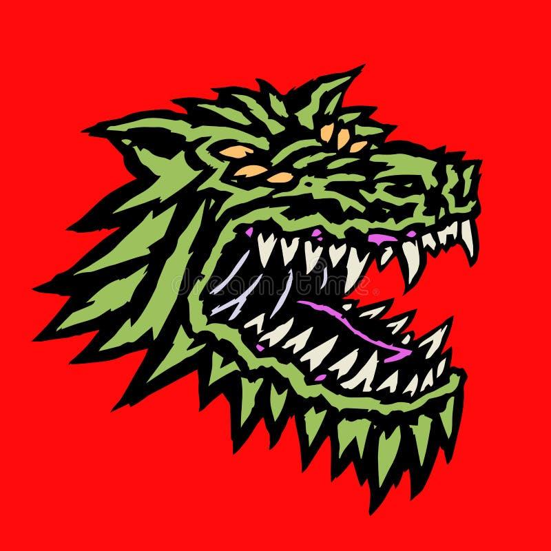Focinho de um monstro estrangeiro mau do lobo com a boca aberta completa dos colmilhos Ilustração do vetor ilustração stock