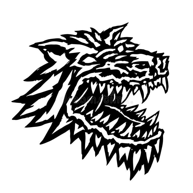 Focinho de um monstro terrível do homem-lobo Ilustração do vetor ilustração stock