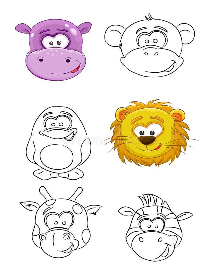 Focinhos dos desenhos animados dos animais ilustração stock