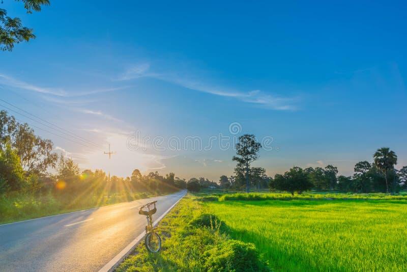 Foco borroso y suave de la suavidad abstracta la silueta la salida del sol con el camino, la bicicleta, campo del arroz de arroz, foto de archivo libre de regalías