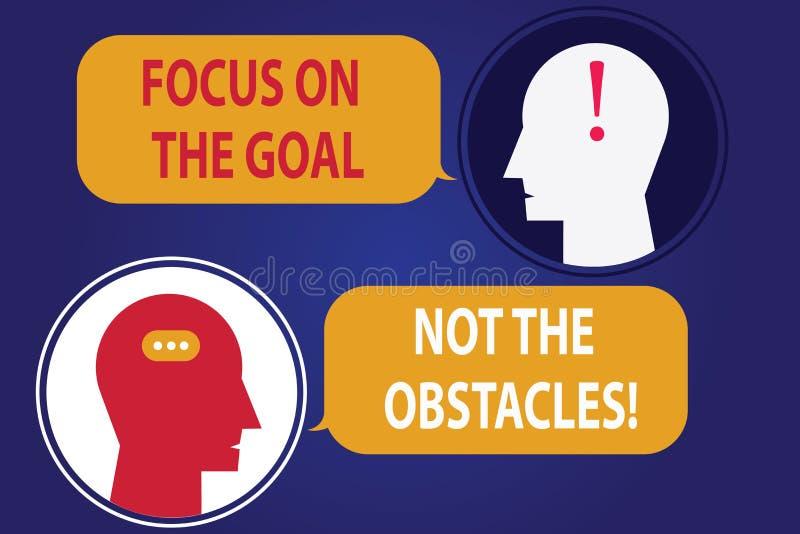 Foco de la escritura del texto de la escritura en la meta no los obstáculos El significado del concepto se determine para lograr  stock de ilustración