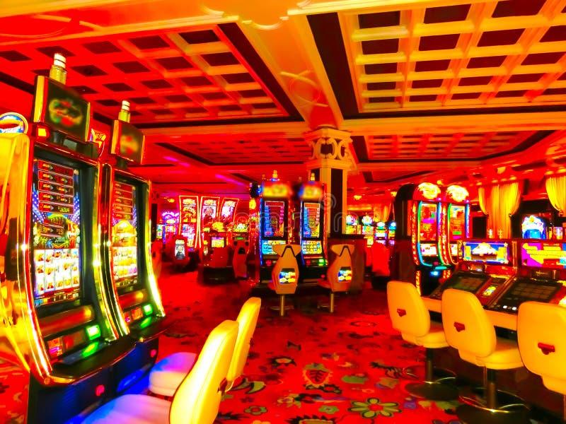 Foco do borrão no casino Fundo abstrato em Vegas Nevada imagem de stock