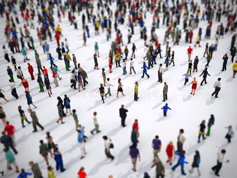 Foco do deslocamento da inclinação em um grande grupo de pessoas rendição 3d ilustração stock