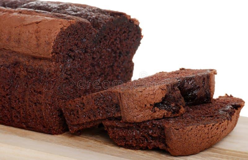 Foco do naco do bolo de chocolate de Bélgica na fatia imagem de stock royalty free