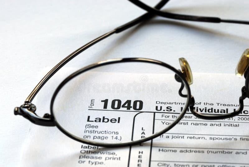 Foco en el impuesto sobre la renta de Estados Unidos 1040 imagen de archivo