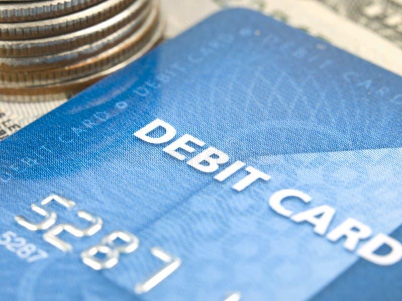 Foco estrecho de la tarjeta de débito fotografía de archivo libre de regalías