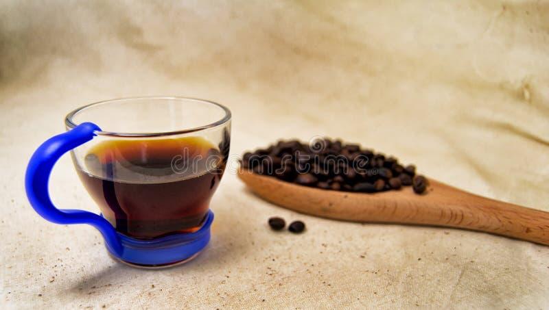Foco macio de um copo da infusão energética da bebida e dos feijões de café em uma colher de madeira com um fundo cru para a desi fotografia de stock
