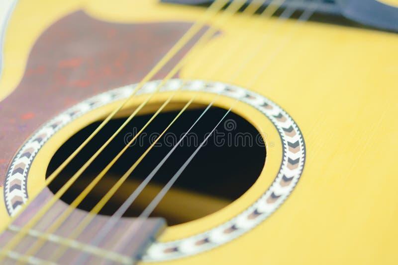 Foco macio Guitarra acústica abstrata fotografia de stock