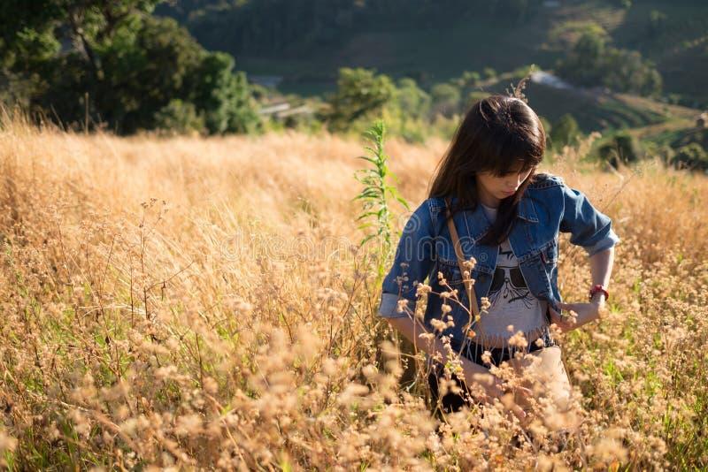 Foco macio - uma mulher adulta nova na flor arquivada imagem de stock