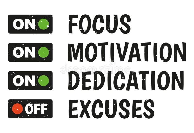 Foco, motivación, esmero, ningunas excusas stock de ilustración