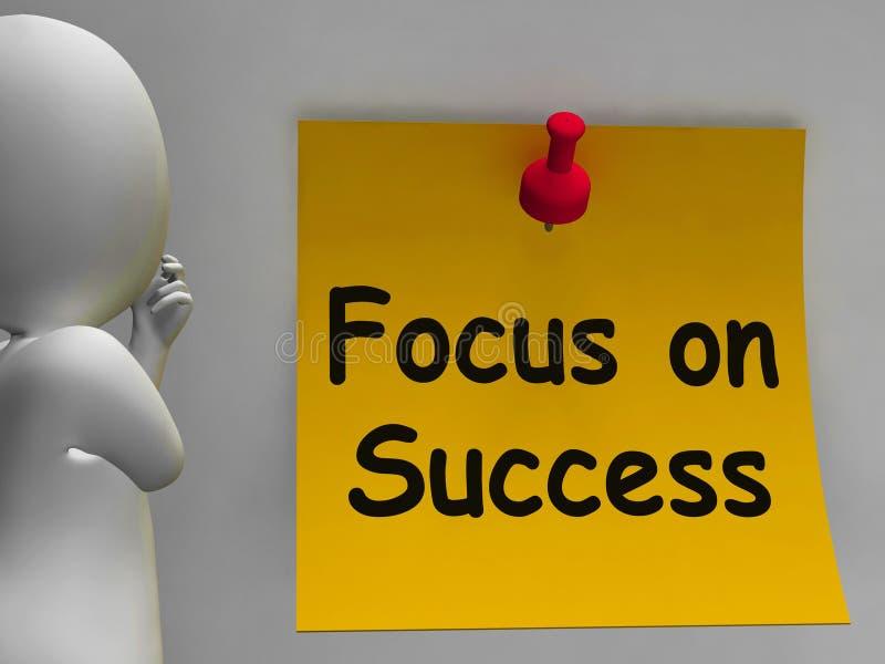 Foco nas mostras da nota do sucesso que conseguem objetivos ilustração stock