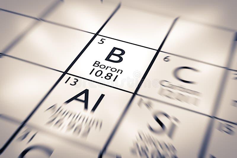 Foco no elemento químico do boro imagem de stock royalty free