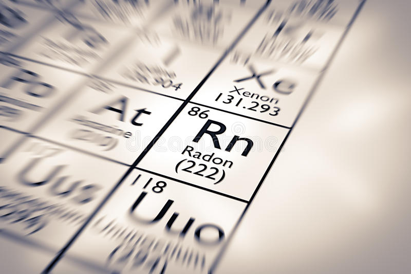 Foco no elemento químico do rádon imagens de stock royalty free