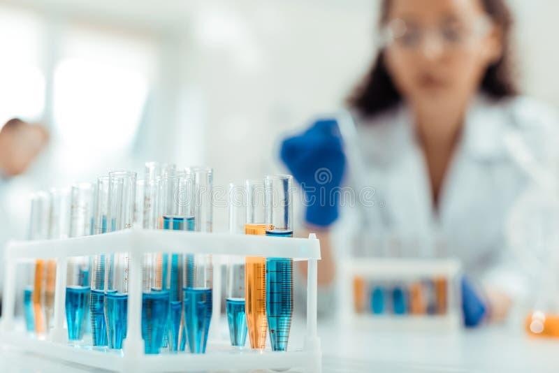 Foco selectivo de la nueva vacuna experimental en el tubo de ensayo fotos de archivo libres de regalías