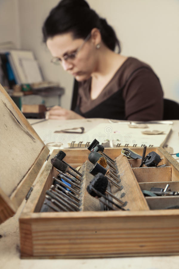 Caja de las herramientas del joyero foto de archivo