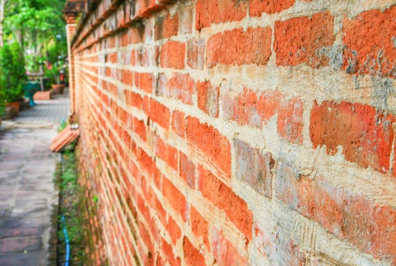 foco selecto hermoso del viejo fondo superficial anaranjado antiguo de la pared de ladrillo con la profundidad del campo baja imagenes de archivo