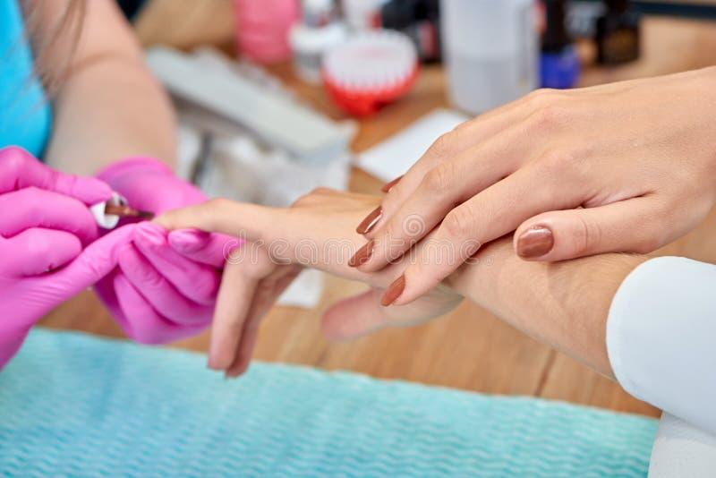 Foco seletivo da mão fêmea com tratamento de mãos marrom bonito fotografia de stock