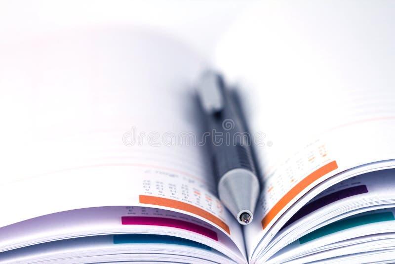 Foco seletivo da pena de bola no livro alinhado aberto do diário com cale fotos de stock