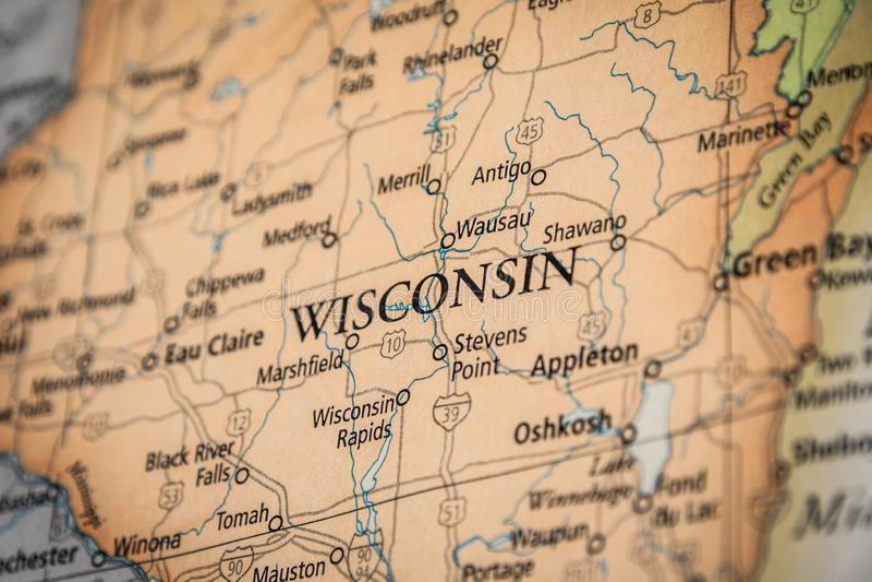 Foco Seletivo Do Estado De Wisconsin Num Mapa Geográfico E Político Do Estado Dos EUA imagens de stock