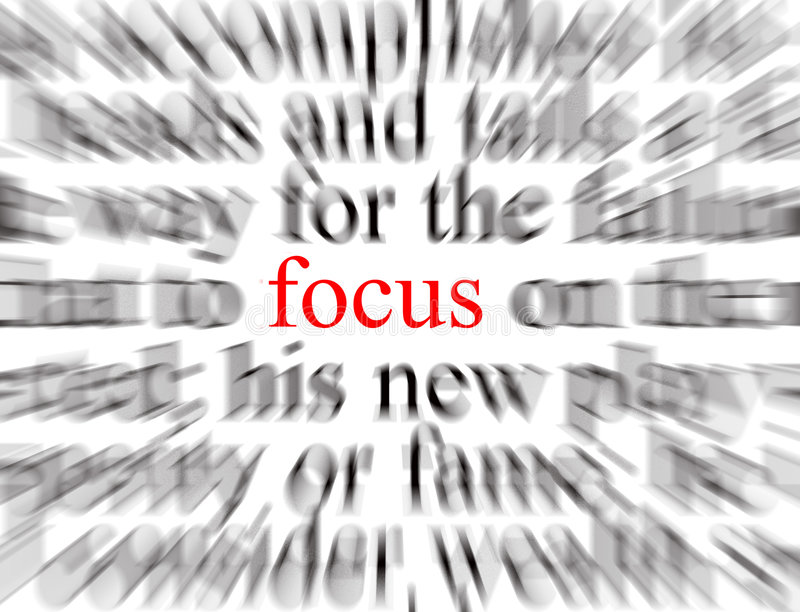 Focus. Blurred text with a focus on Focus royalty free illustration