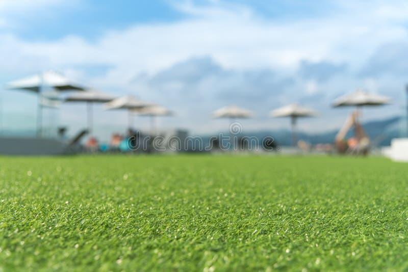 Focus on artificial grass floor stock photo