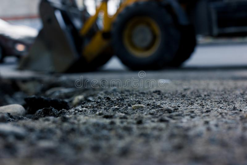 Blurred background, repair roads. Road construction stock photo