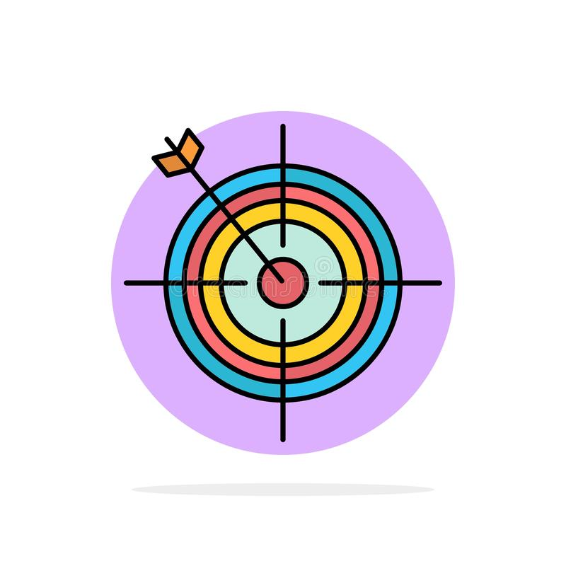 Focus, Board, Dart, Arrow, Target Abstract Circle Background Flat color Icon vector illustration