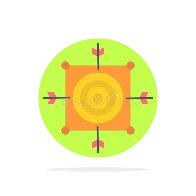 Focus, Board, Dart, Arrow, Target Abstract Circle Background Flat color Icon royalty free illustration