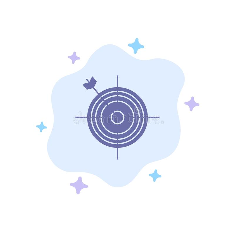 Focus, Board, Dart, Arrow, Target Blue Icon on Abstract Cloud Background stock illustration