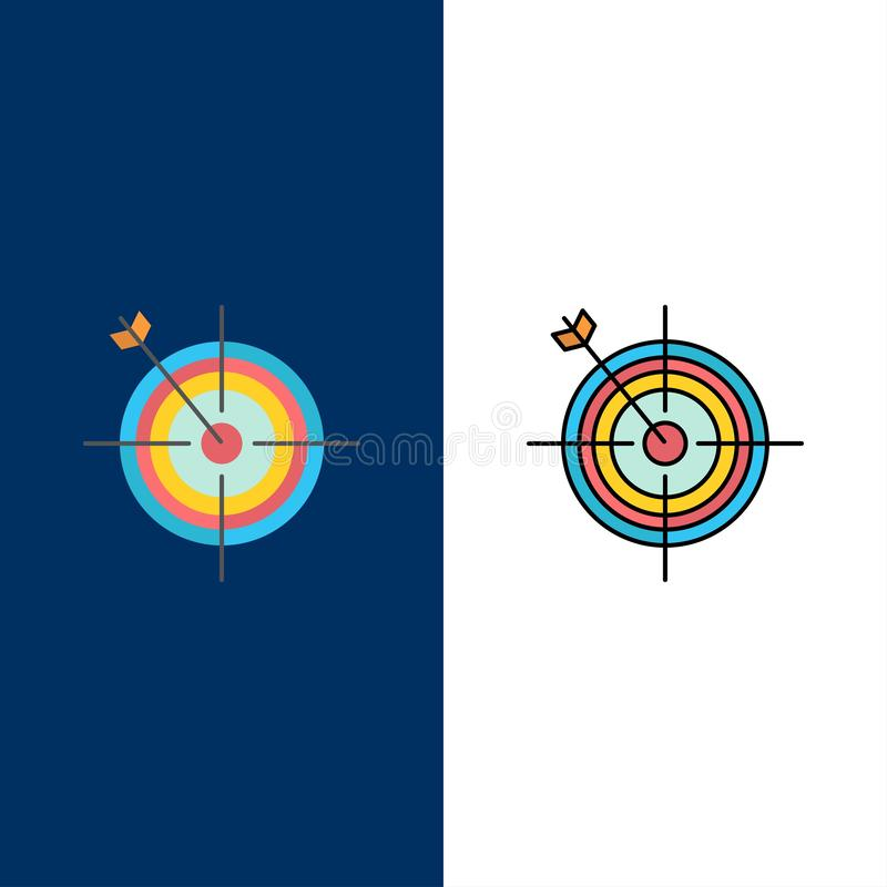 Focus, Board, Dart, Arrow, Target  Icons. Flat and Line Filled Icon Set Vector Blue Background royalty free illustration