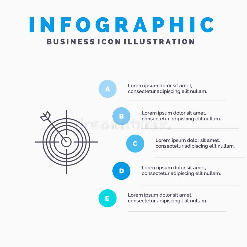 Focus, Board, Dart, Arrow, Target Line icon with 5 steps presentation infographics Background stock illustration