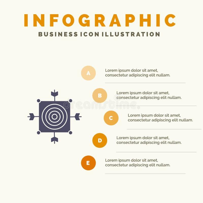 Focus, Board, Dart, Arrow, Target Solid Icon Infographics 5 Steps Presentation Background stock illustration
