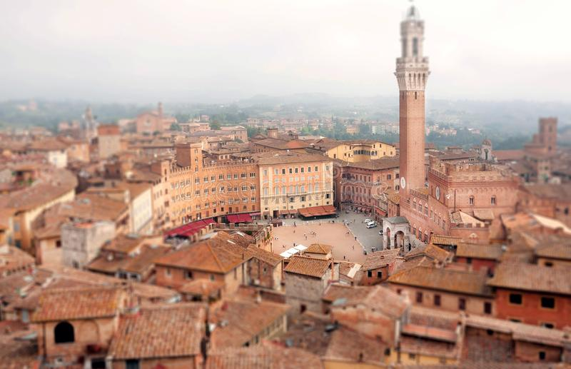 Focus on center of Siena, Tuscany. Tile roofs and 14th century tower Torre del Mangia, Italy. Focus on center of square with historical buildings of city Siena stock image