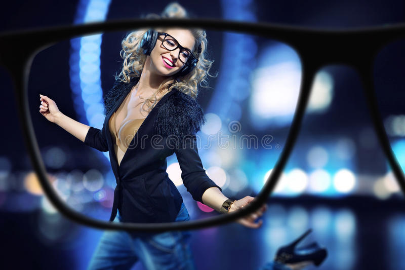 Focus on the cheerful young lady stock photos