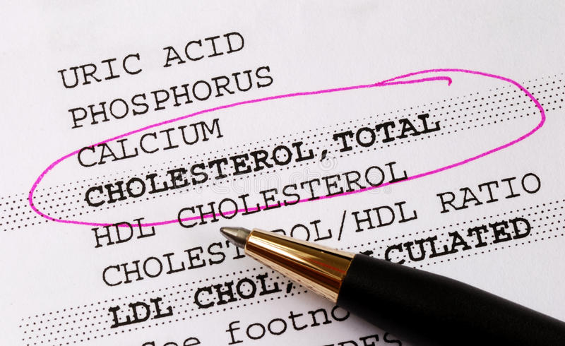 Focus on the cholesterol in a blood test report royalty free stock photos