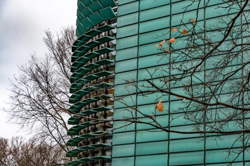 Focus on futuristic building exterior with green glass glazing. Black tree branches with several blurred leaves on geometric background in Berlin Germany. Fall royalty free stock image