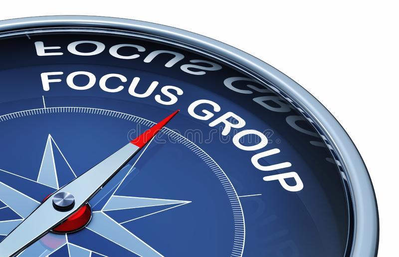 Focus group. 3D rendering of an compass with the words focus group vector illustration