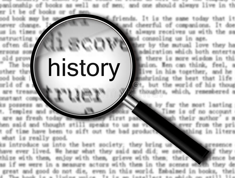 Focus On History. On book with words stock photos