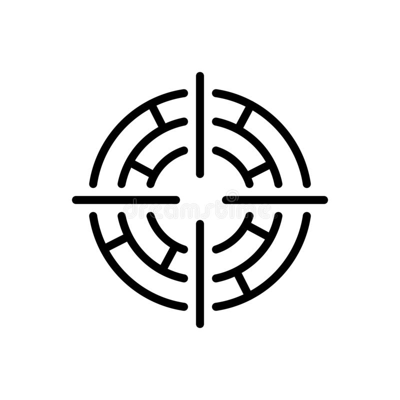 Black line icon for Focus, target and goal stock illustration