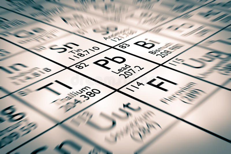 Focus on lead chemical element. From the mendeleev periodic table stock illustration