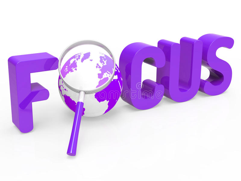 Focus Magnifier Represents Focused Research And Concentration. Focus Magnifier Showing Focused Aim And Analyze royalty free illustration