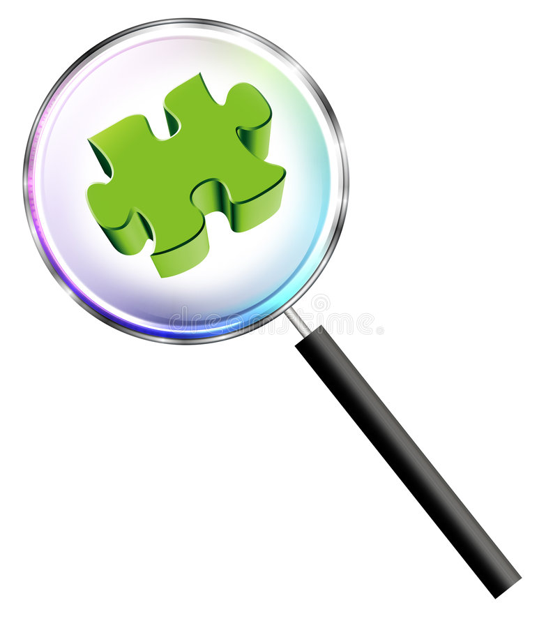 Focus on missing puzzle stock illustration