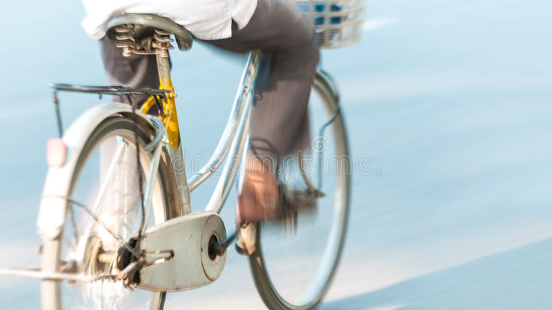 Bicycle with person in motion in Vietnam, Asia. stock photo