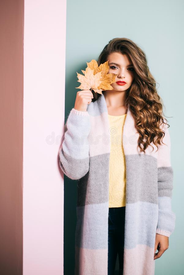 Focus on perfectly groomed beauty. Fall look. Makeup girl. Visage model with decorative fall makeup. Pretty girl cover. Face with autumn leaves. Make-up trends royalty free stock image