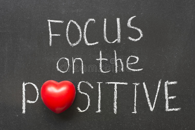 Focus on positive. Focus on the positive phrase handwritten on chalkboard with heart symbol instead of O royalty free stock photo