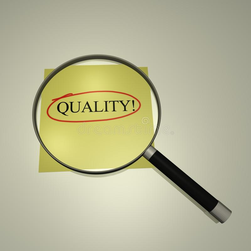 Focus on Quality. Magnifying glass focusing on the word Quality vector illustration
