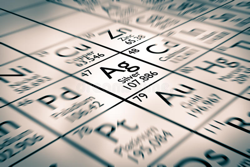 Focus on silver chemical elements stock image